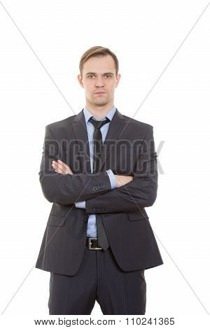 body language. man in business suit isolated white background. Training managers. sales agents.  ges