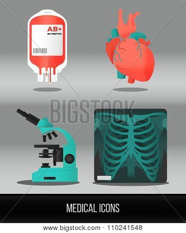 Vector health care and medical icon set. Illustration in flat style.