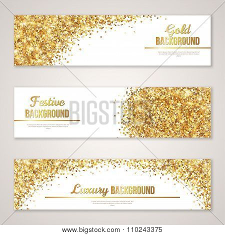 Banner Design with Gold Glitter Texture.