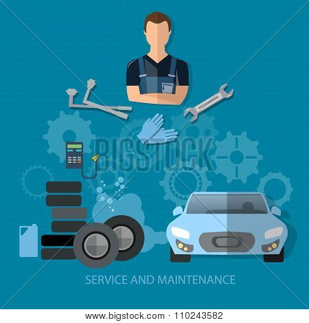 Auto Service Concept Car Repair Service Professional Auto Mechanic With Wrench