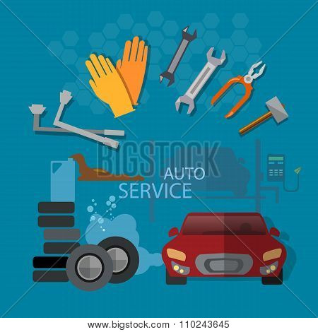 Auto Repair Auto Service Garage Auto Mechanic Tools Concept