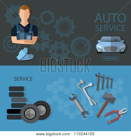 Auto Service Auto Repair Tire Service Oil Change Auto Mechanic Banners