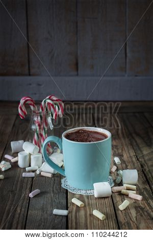 Mug Filled With Hot Chocolat Near Marshmallow  And Candy Canes I