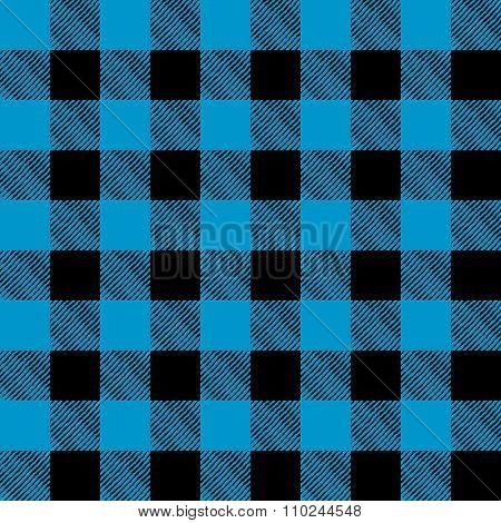 Tiled Blue And Black Flannel Pattern Illustration
