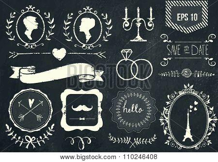 Retro chalk elements and icons set for retro design. Paris style