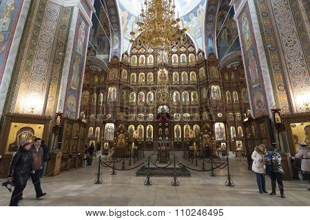 Nizhny Novgorod, Russia - 03.11.2015. iconostasis at  Cathedral of St. Alexander Nevsky in Nizhny No