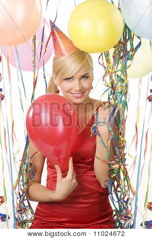 Red Dressed Girl In Party With Balloons