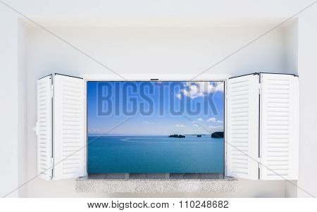 Window With Shutters Overlooking The Sea