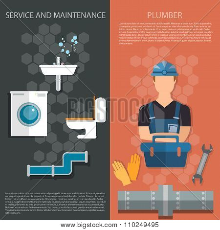 Plumbing Repair Service Professional Plumber Different Tools And Accessories Banners