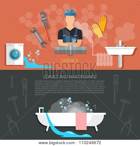 Plumbing And Renovation Professional Plumber Man With Tools Fixing A Sink In Bathroom Banners