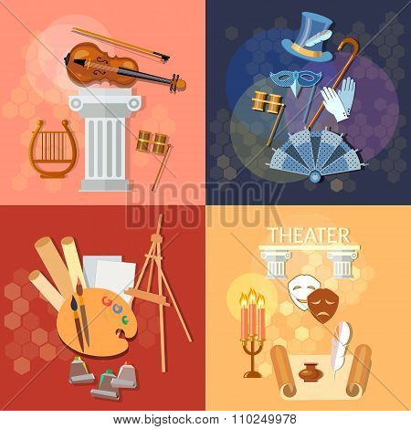 Art Concept: Music Ballet Theatre Literature Dramaturgy Vector Set