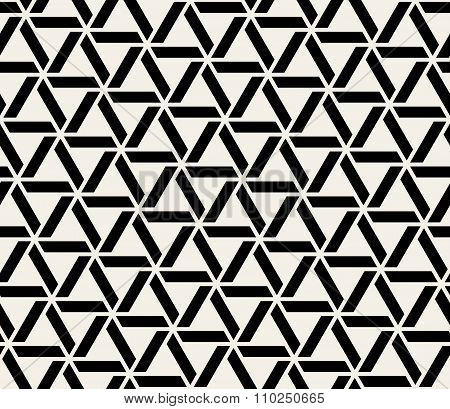 Vector Seamless Black And White Abstract Geometric Interlacing Triangle Lines Pattern