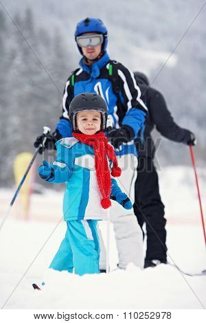 Father And Son, Skiing In The Winter, Boy Learning To Ski, Going On Ski For The First Time