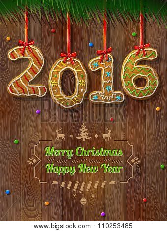 New Year 2016 In Shape Of Gingerbread Against Wood Background