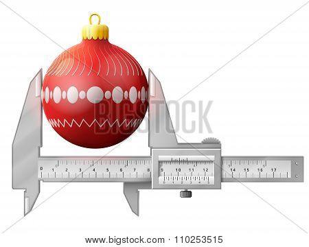 Horizontal Caliper Measures Christmas Tree Ball