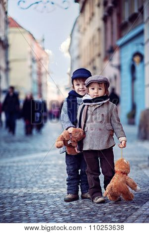 Portrait Of Two Boys In The Center Of Prague