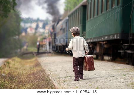 Boy, Dressed In Vintage Shirt And Hat, With Suitcase