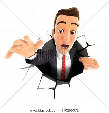 3d businessman falling down into a hole