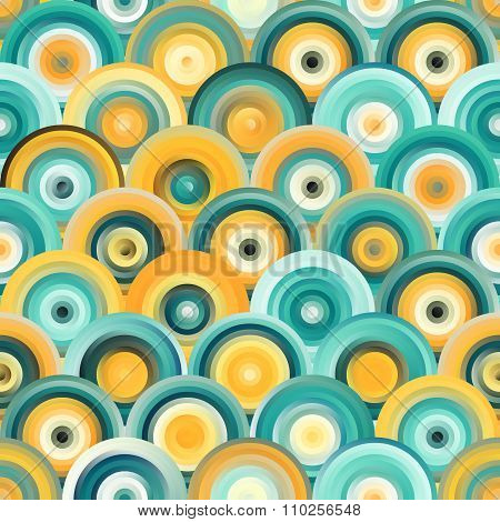 Vector Seamless Teal Orange Gradient Mesh Concentric Circles Pattern