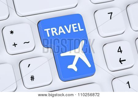 Booking Flight And Holidays Vacation Travel Online Shop Internet On Computer