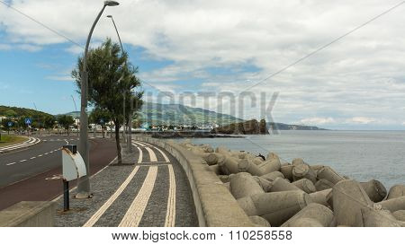 PONTA DELGADA, AZORES/PORTUGAL - CIRCA JUN, 2015: View of the Sea Port of Ponta Delgada. City is located on Sao Miguel Island (232.99 km2) Region capital under the revised constitution of 1976.