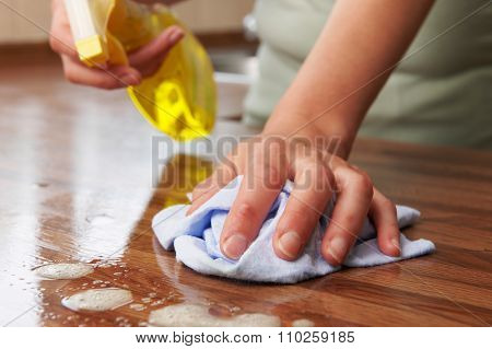 Woman Using Spray Cleaner On Wooden Surface