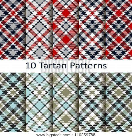 set of ten tartan patterns
