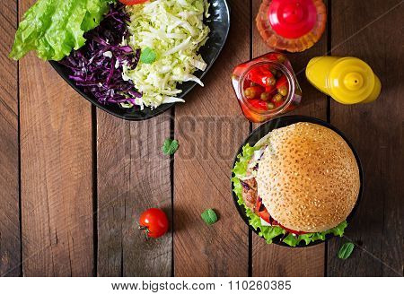 Sandwich Hamburger With Juicy Burgers, Cheese And Mix Of Cabbage. Top View