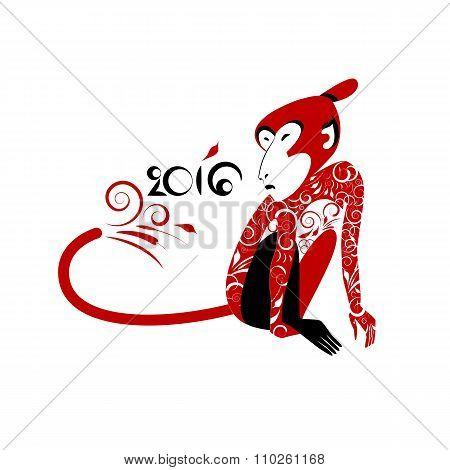 Monkey Samurai In Japanese-russian Style