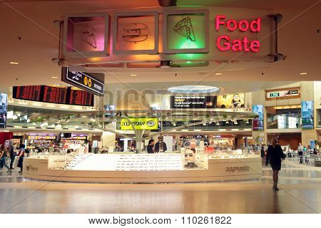 Shops And Cafe In Terminal Of Ben Gurion International Airport In Tel Aviv, Israel