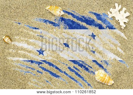Flag Of Honduras Under A Beach Background