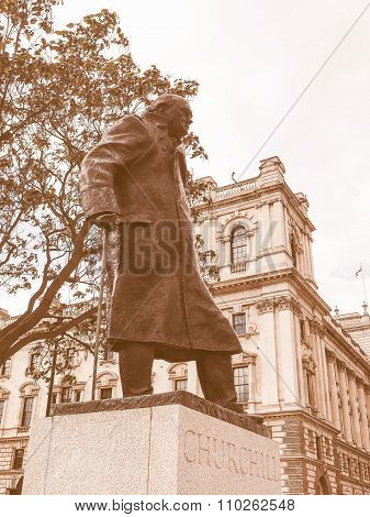 Retro Looking Churchill Statue In London