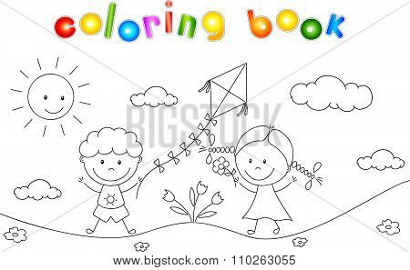 A Boy And A Girl Playing In The Meadow And Launching A Kite. Coloring Book