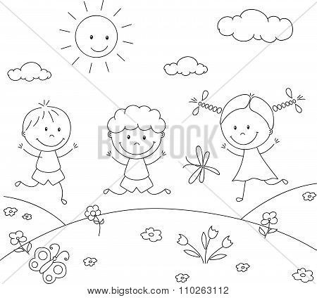 Boys And A Girl Playing In The Meadow. Coloring Book