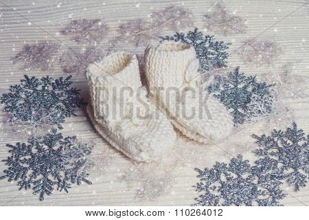 White Knitted Baby's Bootees With Snowflakes