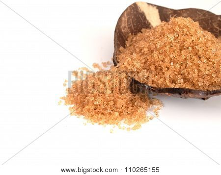 Granulated Brown Sugar,placed On A Wooden Cup