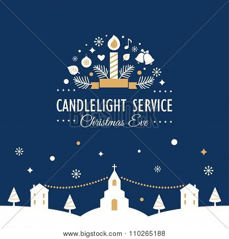 Christmas Eve Candlelight Service Invitation Card
