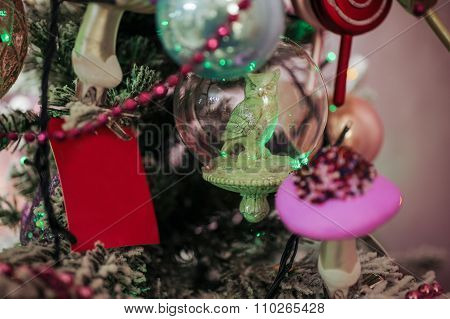 Transparent Christmas Ball On Pine Tree