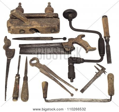 Set of Old Carpenter Wooden Tools