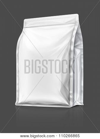 Blank Packaging Aluminium Foil Pouch Isolated On Gray Background