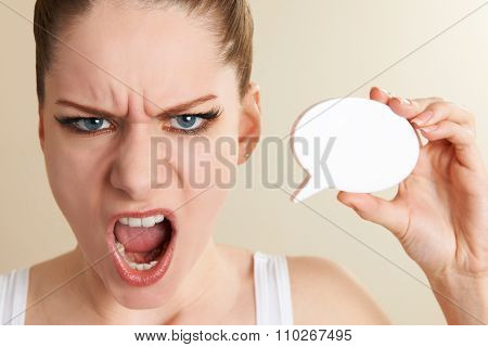 Annoyed Woman Holding Speech Bubble And Shouting