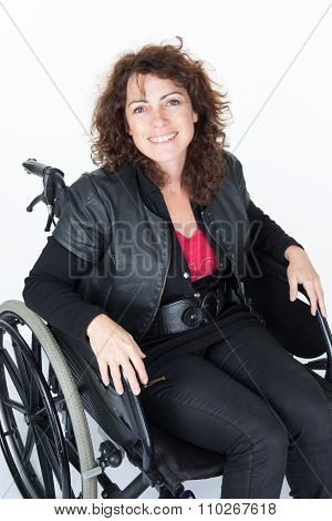 Invalid Girl  Smiling On Wheelchair Isolated On White