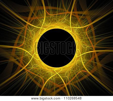 Abstract Fractal Background With Sun Eclipse Or Black Hole Texture