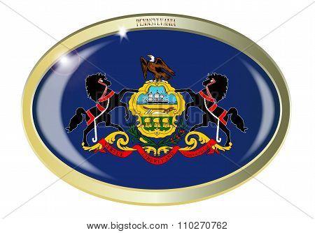 Pennsylvania State Flag Oval Button