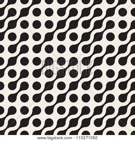 Vector Seamless Black  White Rounded Circle Metaball Pattern