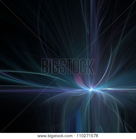 Abstract Black Background With Blue Or Turquoise Color Flower ( Lotus ) Or Explosion With Dark Rays