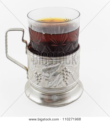 Glass Of Russian Tea In Vintage Glass Holder Podstakannik