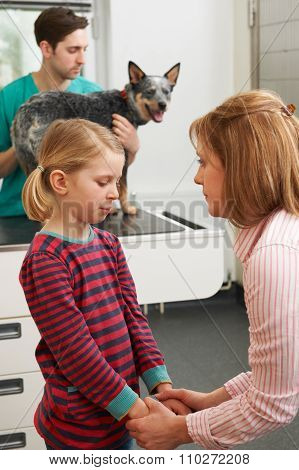 Mother Comforting Girl As Vet Treats Sick Dog