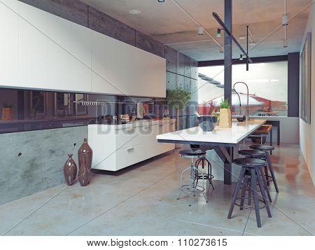 contemporary kitchen interior design. 3d concept
