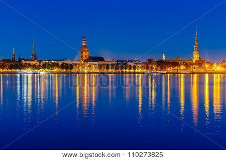 Old Town and River Daugava at night, Riga, Latvia
